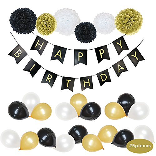 Party Decoration Supplies BCopter Tissue Pom Poms Paper Flowers Ball Tissue Tassel Paper Lanterns Black Gold White Circle Garland Hanging Craft Decoration Set, Bridal Birthday Baby Showers Wedding (Happy Birthday Nice Cake)