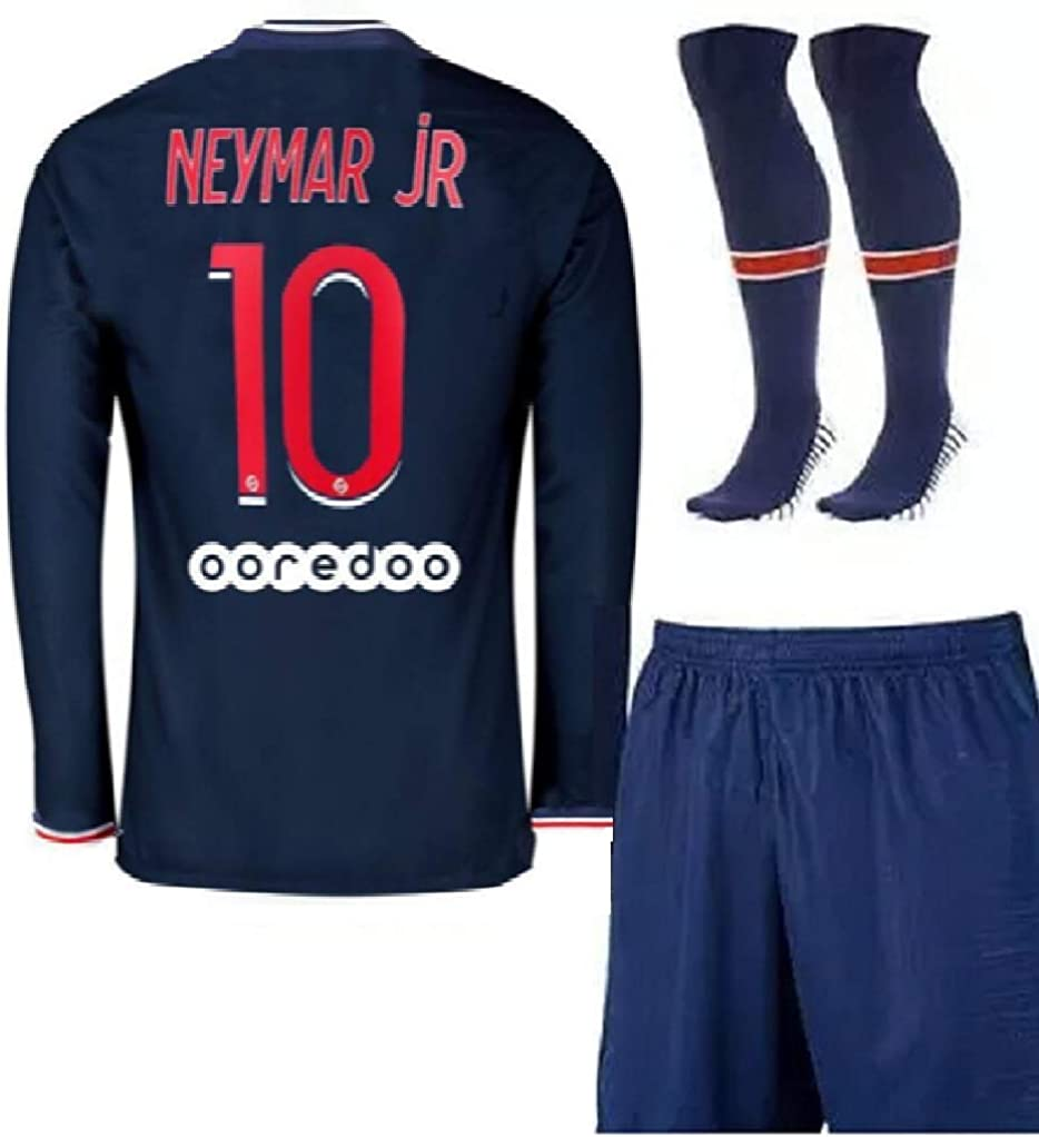 New 20/21 Paris Neymar Home Blue Jersey + Shorts + Socks Soccer Long Sleeve Youth Kids Sizes (4-12 Years Old)