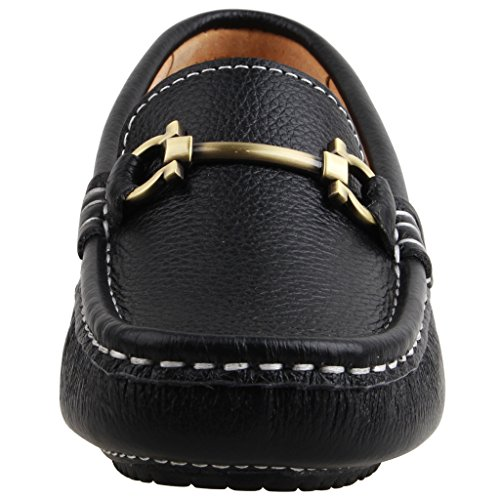 Image of SKOEX Boy's Leather Loafers Slip On Boat Shoes