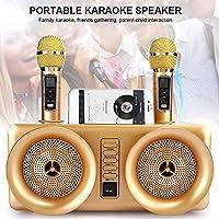 Riiai Riiai Dual Wireless Microphone with Bluetooth Speaker Family Home Karaoke Echo System Handheld Singing Machine Box…