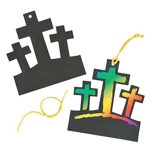 Magic Color Scratch Cross (3 Crosses Magic Color Scratch Ornaments)