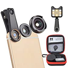 MIAO LAB 4 in 1 Camera Lens Kit 120 Degree Wide Angle Lens + 10X Macro Len + Kaleidoscope Lens + LED Flashlight Clip-on Phone No Distortion for iPhone 7/6s Samsung S8 Android Smartphones(Black)