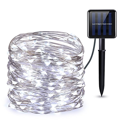 AMIR Solar Powered String Lights, 100 LED Copper Wire Lights, Starry String Lights, Indoor/Outdoor Waterproof Solar Decoration Lights for Gardens, Home, Dancing, Party Snow Globes(White) ()