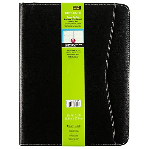 Day-Timer Basque Bonded Leather Starter Set, Undated, Wirebound, Notebook Size, 8.5 x 11 Inches, Black (85457) (Notebook Timer Day)