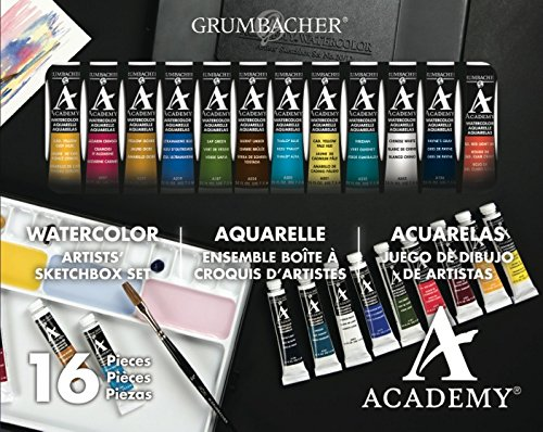 Grumbacher Academy Watercolor Paint, 7.5ml/0.25 oz. Tube, 12-Color Set (2012)
