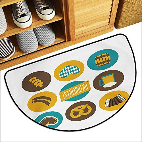 (warmfamily German Non-Slip Door mat Bavarian Oktoberfest Themed Symbols Pretzel Beer and Accordion Easy to Clean W35 x L23 Earth Yellow Teal and Brown)
