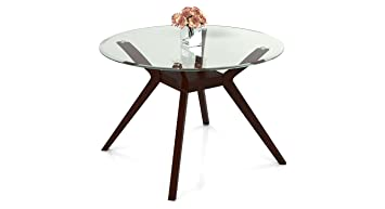 d80739a311a Image Unavailable. Image not available for. Colour  Urban Ladder Wesley 4  Seater Round Glass Top Dining Table ...