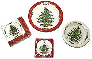 Amazon.com: Spode Christmas Tree Paper Plates and Napkins ...
