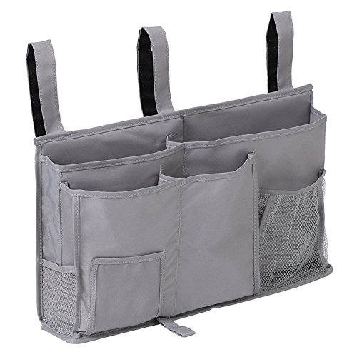 Bedside Organizer Caddy Hanging Storage Bag Holder 8 Pockets Bed Rails Dorm Rooms Bunk Beds Apartments Bathrooms Gray ()