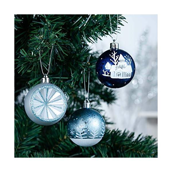 Valery Madelyn Palle di Natale 9 Pezzi 6cm Palle di Natale, Winter Wishes Argento e Blu Infrangibile Palla di Natale Ornamenti Decorazione per la Decorazione Dell'Albero di Natale 4 spesavip