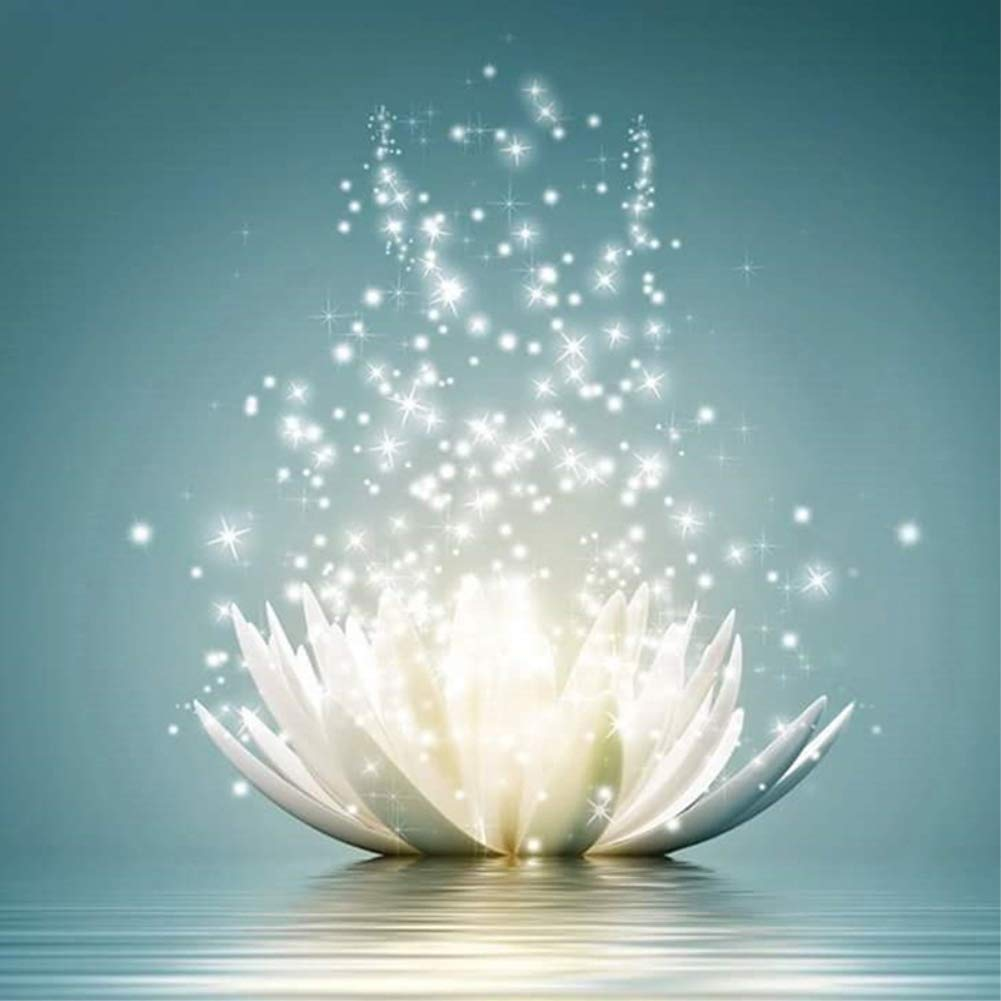 NYEBS DIY Diamond Painting Flower Full Round Drill Romantic Lotus Rhinestone Embroidery Arts Craft Supply for Wall Decoration 12X12 inches Full Drill) DIY 5D Diamond Painting Kit for Adults
