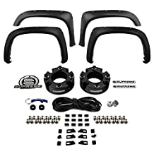 "Supreme Suspensions - Toyota Tundra 3"" Front Suspension CNC Machined Billet Spacer Lift Kit + 4 Front and Rear Bolt on Rivet Off-Road Newer Body Style Truck Fender Flares (Textured) by Spyder Auto"