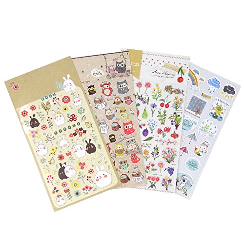 Honbay 4 Sheets Cute Cartoon Decorative Stickers for Cup, Phone, Laptop, Photo Album, Notebook, Diary, Scrapbooking