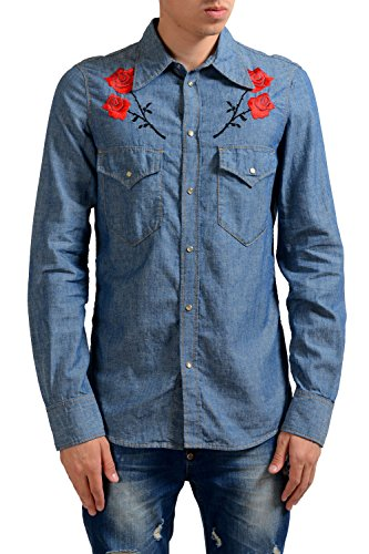Dsquared2 Men's Blue Embroidered Linen Long Sleeve Casual Shirt US S IT 48