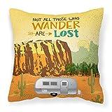 Caroline's Treasures VHA3026PW1414 Airstream Camper Camping Wander Fabric Decorative Pillow, Multicolor, 14Hx14W