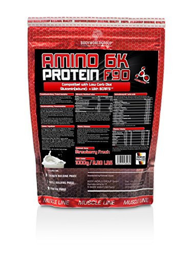 BWG Amino 6K Protein F90, Muscle Line, Strawberry, 1er Pack (1 x 1 kg)