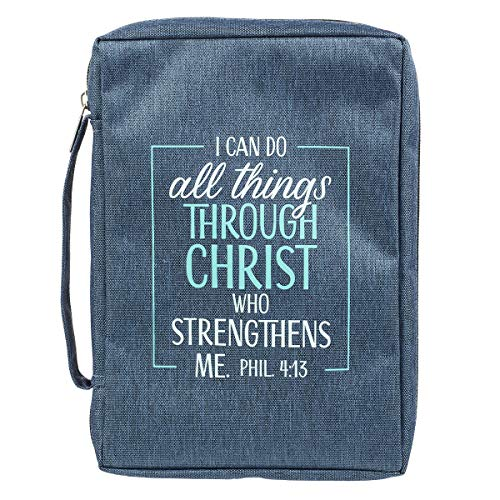 I Can Do All Things Blue Poly-Canvas Bible Cover - Philippians 4:13 - Large
