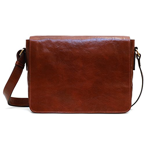 Floto Firenze Messenger Bag in Brown Full Grain Calfskin Leather by Floto