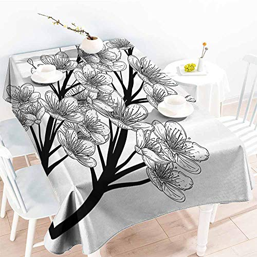 Wrinkle Resistant Tablecloth House Decor Collection Dead Skull with Flowers Birds and Feathers Gothic Traditional Mexican Calavera Design Black White Excellent Durability W52 xL72
