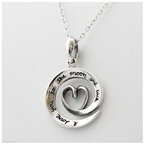 Love You To The Moon and Back Necklace - 925 Sterling Silver - Moon Love - Stores Mall The In Boulevard