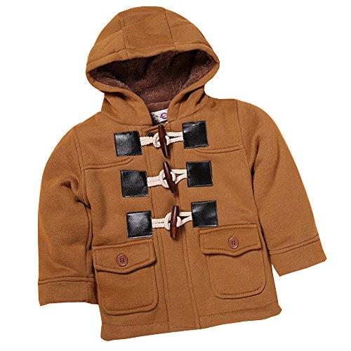 rls Warm Fleece Hooded Jacket Outawear Conch Button Zipper Winter Coat Camel ()