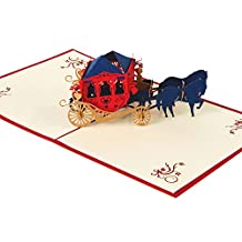Taloyer Vintage Horse Carriage 3D Pop Up Greeting Card Handmade Happy Birthday Valentine's Day Mother's Day Christmas Gifts