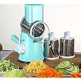 Reizbaby Manual Roller Vegetable Slicer Mandoline Cutter Potato Chopper Carrot Grater Detachable 3 Stainless Steel Blade Non-Slip Base
