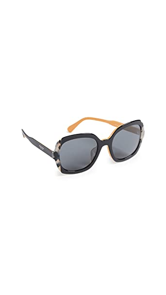 Prada 0PR 16US, Gafas de Sol para Mujer, Top Black Yellow/Grey Havana, 54