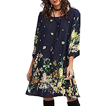 Dahanyi Hot Selling 2018 New Summer Cotton 3/4 Sleeves O Neck Loose Dress Floral