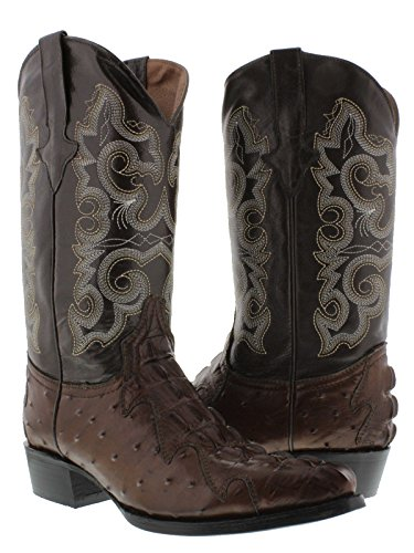 - Team West - Men's Brown Crocodile & Ostrich Design Leather Cowboy Boots 7 D(M) US
