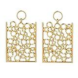 WaiiMak Women 925 Sterling Silver or 18k Gold Creative Geometric Round Long Square Temperament Earrings (Gold)