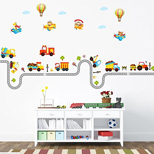 Nursery Truck (Transportation Wall Decal Baby Nursery Decor Truck Decals Airballoon Decor for Home Decorations)
