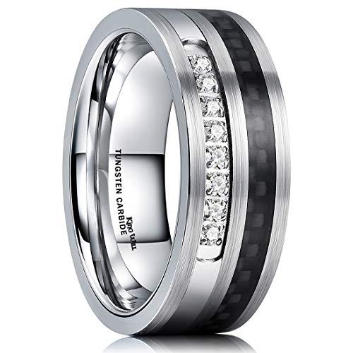 en Carbide Wedding Ring Black Carbon Fiber & Cubic Zircon Inlaid Flat Style Comfort Fit 11 ()