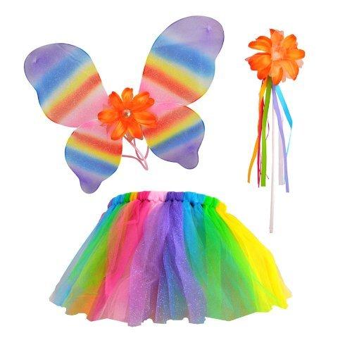 Girls Costume Shining (Girl's 3 Piece Tutu Costume Set (Shining Rainbow)