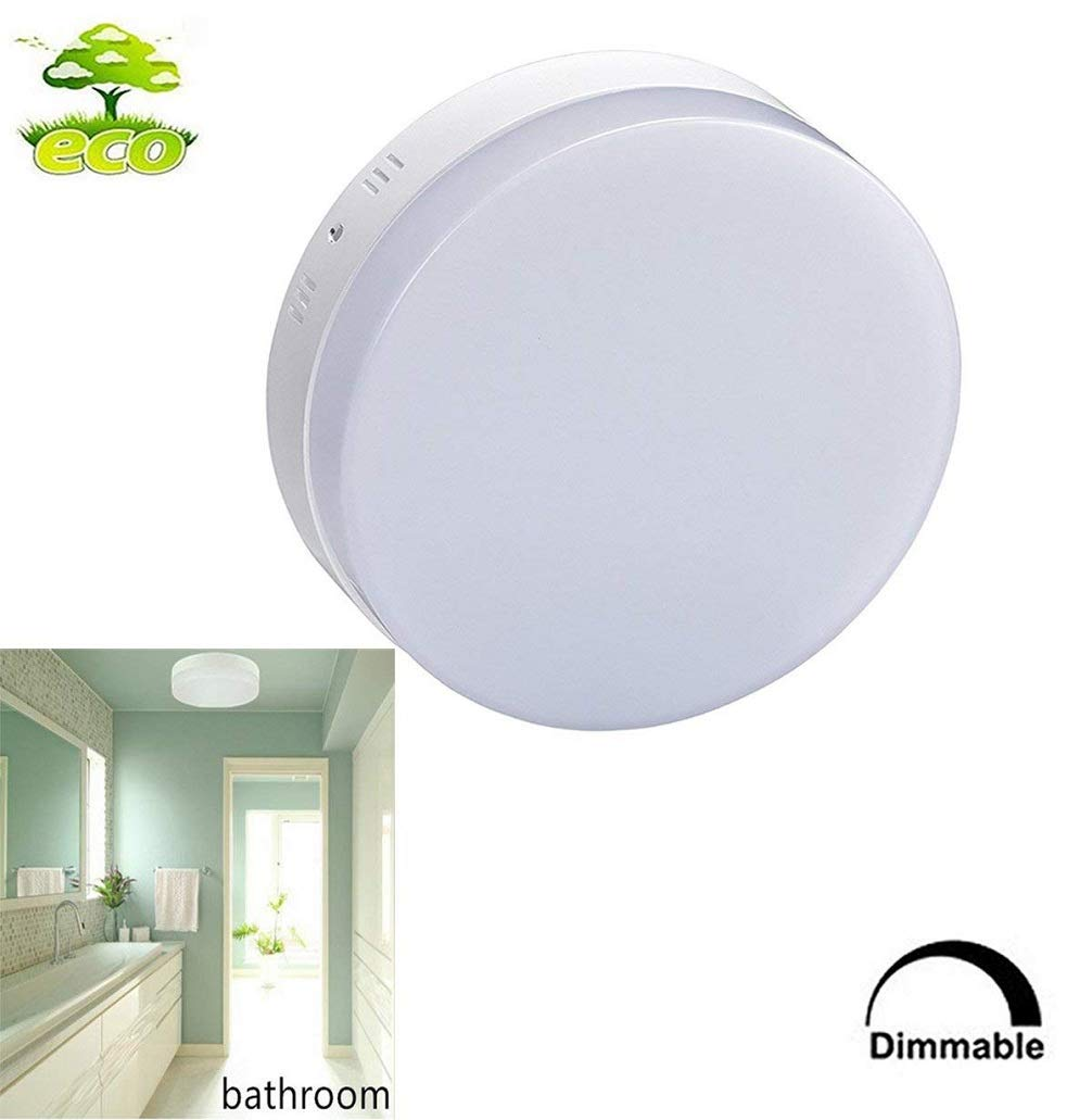 Dimmable Led Flush Mount Ceiling Light Fixture-18W Stylish Flat Round Surface Downlight Lamp for Bathroom/Closet/Bedroom/Dining Room/Kids Room Lighting with Remote Control Switch