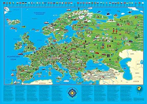 environ /130/x 90/cm Pour enfant illustr/é carte dEurope/