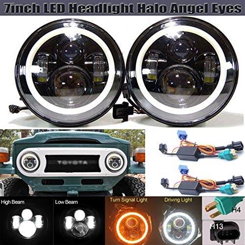 7 Inch Round LED Projector Headlights 150W with Halo Ring Angel Eyes Hi Low Beam DRL for Toyota FJ Cruiser 2007-2014, H4/H4 to H13 Plug and Play