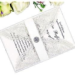 PONATIA 25PCS Lacer Cut Wedding Invitations Card Hollow Bride Invitations Cards for Wedding Bridal Invitation Engagement Invitations Cards (White)