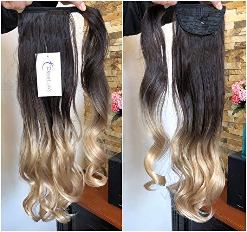 Long Wavy Dip Dye Ombre Wrap Around Ponytail Clip in Hair Extensions dark brown/sandy blonde
