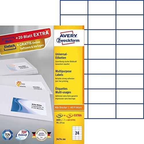 Avery Zweckform 3474-200 Etiketten (A4, 4800 Plus 480 Universal ...