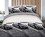 queen sheets cars - Vivid 3D Bed Sheet Set White Tattoo Sports Car in Snow Scenery Print in Queen King Size - Wrinkle Free, Fade Resistant, Ultra Soft (Queen, SPORTSCAR-Y46)