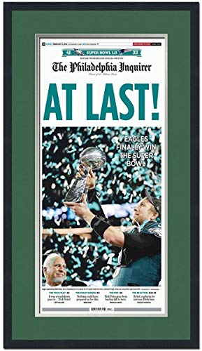 Framed Philadelphia Inquirer At Last Eagles Super Bowl 52 Champions 17x27 Football Newspaper Cover Photo Professionally Matted