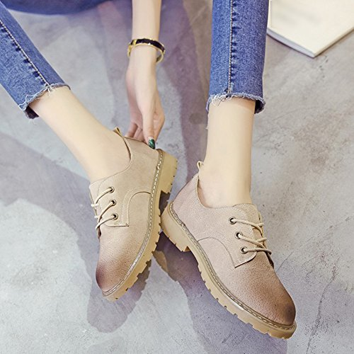 Womens Khaki Wedge Shoes T Fashion Round Low Oxfords Toe Retro Comfy JULY Shoes Platform Mubuck 5w6qU6R