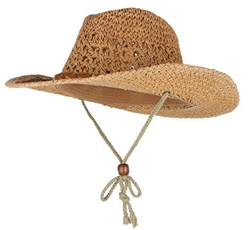 Gemvie Baby Toddler Kids Sun Straw Western Cowboy Hat Wide Brim With Chin Strap (Khaki) ()