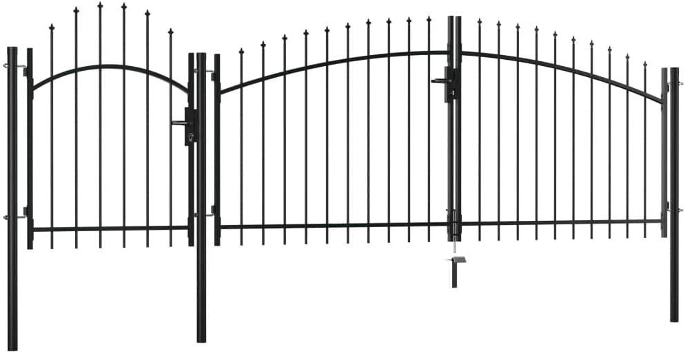 vidaXL Gartentor Metalltor Hoftor Zauntor Gartenpforte Gartent/ür Zaunt/ür Gartenzaun Tor Pforte Einfahrtstor Hoft/ür Stahl 2,25x4m Schwarz
