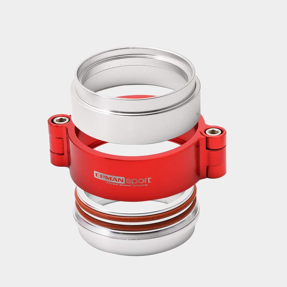 Red EPMAN TKKKA76 HD 76mm Exhaust V-Band Clamp with Flange System Assembly Anodized Clamp for 3 OD Turbo Dump Pipe