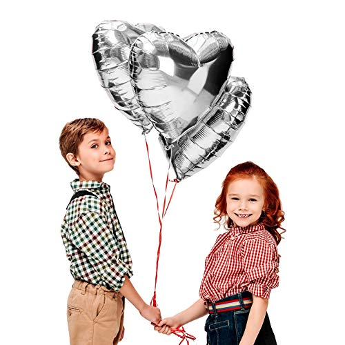 (Treasures Gifted Valentines Day Heart Love Decorations in Silver Foil Mylar Balloons for Birthday Baby Shower Wedding Engagement Party Graduation Supplies (6 Pack))