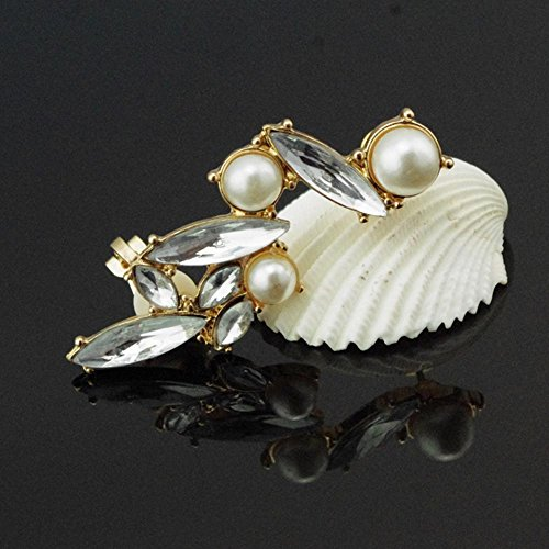 DDU(TM) 1Pcs Crystal Alloy Gold Edge Ear Cuff Ear Lobe Spike Stud Earrings Ear Clip Christmas Birthday Gift