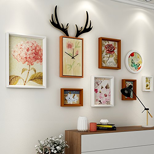 Paintsh Living Room Decoration Painting Sofa Background Wall Simple Modern Atmosphere Nordic French Back Wall Combination Mural Deer Head Painting, Suitable for 2.5-5 M Wall, Oblique Bezel, White -