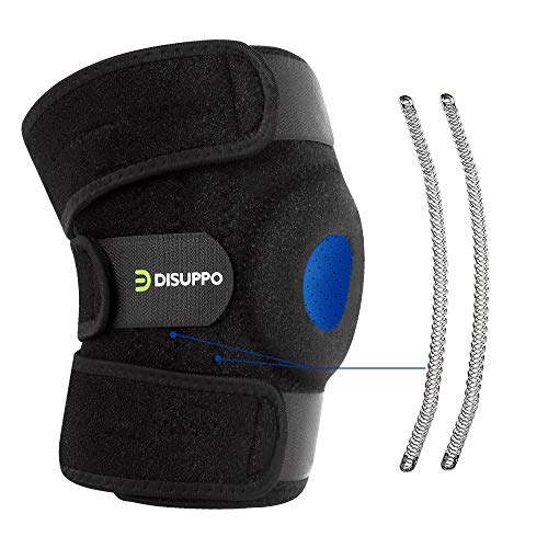 DISUPPO Pro Knee Brace Support, Compression Knee Sleeves, Open-Patella Dual Stabilizers. Non-Slip Comfort Neoprene, Breathable Adjustable Straps for Sports, Running, Basketball,Men Women